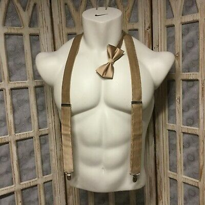 The Tie Bar Tan Suspenders Silk Matching Adjustable Bow Tie