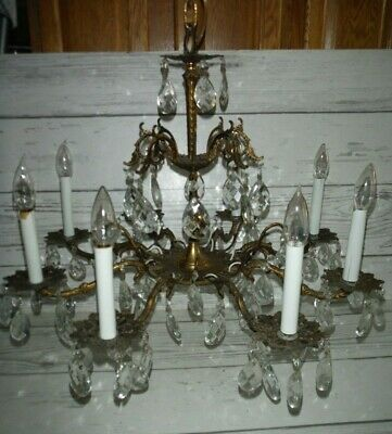 Vintage Ornate Antique 8 Arm 8 Light Glass Prisms Brass Chandelier Lamp
