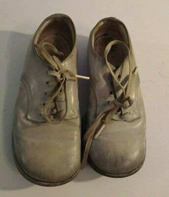 Vintage Leather Lace Up Baby Toddler Shoes Large Doll