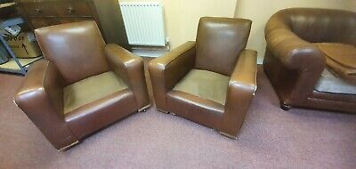 Pair Of 1940s Faux Leather Club Chairs art deco style Great Shop Display