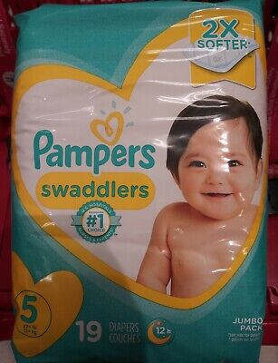 Pampers Swaddlers Size 5 (19 Count) Jumbo Pack Brand New