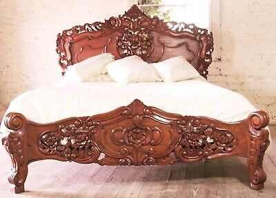 Mahogany Rococo Antique Carved Style 5' King Size Louis Chateau French Bed  NEW