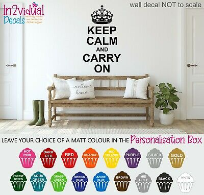 Keep Calm And Carry On With Crown Wall Art Sticker Quote Decal Vintage Retro