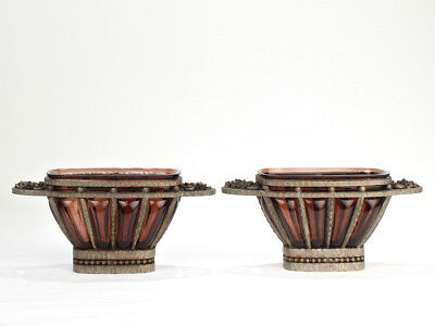 Pair of French Art Deco Wrought Iron & Glass Cachepots by Muller Freres - GL
