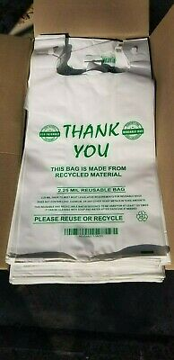 """MyBrownBoxes 50pcs LG Thick (2.25Mil) """"Reusable"""" Plastic Shopping Bags, 12x7x23"""
