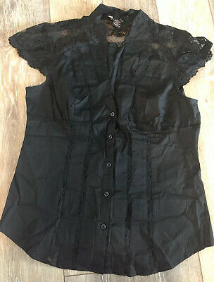 Moda Women Sz L Top Shirt Blouse Victorias Secret Lace Cotton Business Stretch!
