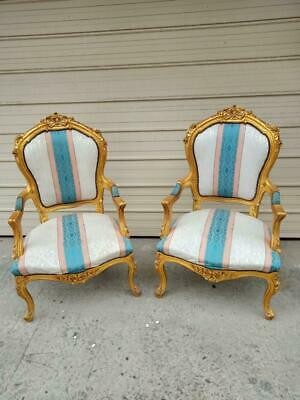 Pair Of Large Gilt Ornately Carved French Baroque Louis Fauteuil Style Armchairs