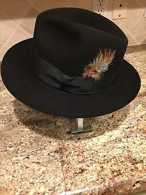 """Vintage Black Stetson Sovereign Fedora Hat 7 1/2""""  With Feather VGUC"""