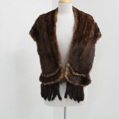 J. P. Filgate & Co Auburn Brown Fur Mink Pocketed Stole Shrug Shawl Cape #417