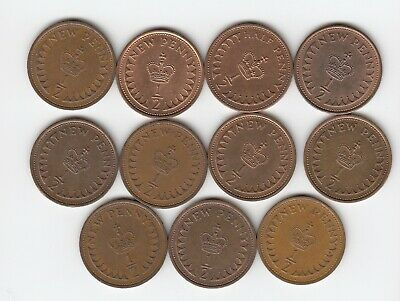 1971 to 1982 Set of 1/2pennys (Not 1972) Mixed Condition Very Nice Coins  (5091)