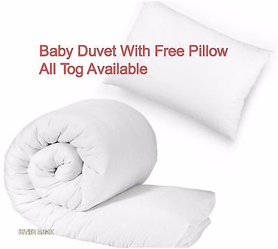 Baby Cot Bed Quilt/Duvet Free Pillow Toddler Junior Nursery Anti Allergy All Tog
