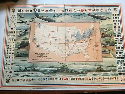 "1940's ORIGINALC S Hammond Defense Map of United States WWII 31"" x 21"" poster"