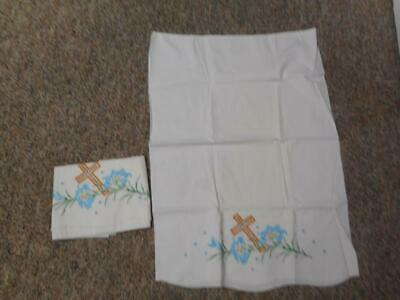 Two (2) Unused Vintage Religious Cross Flowers Embroidered Pillowcases
