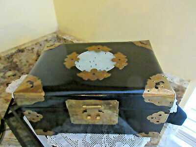 Vtg Asian Chinese Ebony Wood Jewelry Box White Jade Medallion Brass Mounts