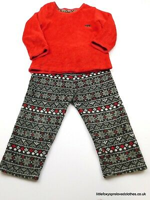 2-3 year Primark girls warm soft set of pyjamas top and bottoms red grey
