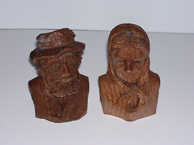 Vintage Hand Carved Wood Ladies and Mans Bust Face Detailed