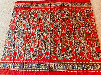 Colorful Vintage Paisley Border Print Fabric, Red Background