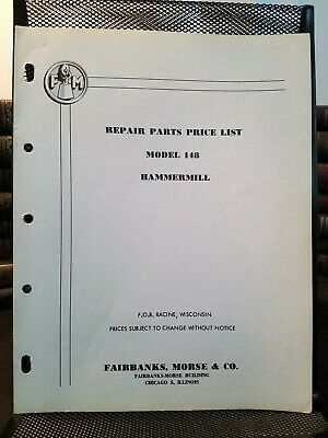 Fairbanks Morse Hammer Mills Model 148 Repair Parts Price List 1951 Illustrated
