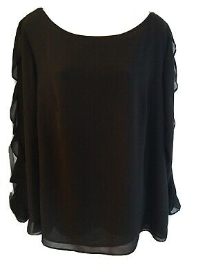 Dress Barn ROZ&ALI Black Large Women's Pull Over Top Ruffled Sleeves