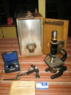 Vintage Bausch Lomb Science Medical Lab Microscope Wood Case Metal Sided EXTRAS