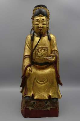 """Chinese 17Th-18Th C Wood Carved Temple Ancestor Statue Letter From Christies 17"""""""