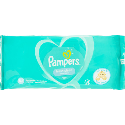Baby Wipes 52 Pack Pampers Fresh Clean 0% Alcohol Dermatologically Tested Hand
