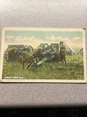 World War 1 -American Military-Postcard. Loading The Field Gun-unposted