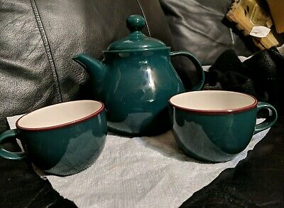 Green Teapot And Two Cups Fusions By Nancy Calhoun Teapot Set