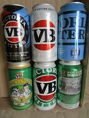 Vb Collectable Beer Cans X 6. Top Nick