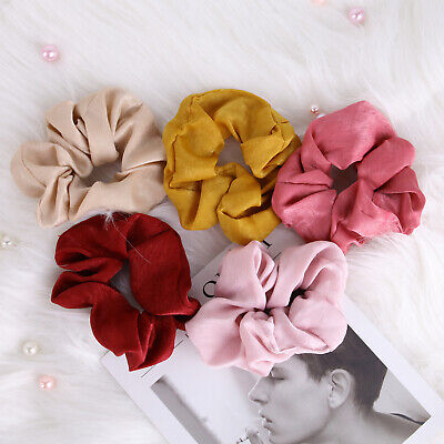 Women's large intestine circle solid color satin fabric hair ring headwear hair