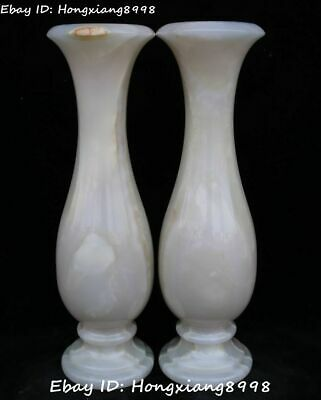 "13"" Chinese Natural White Jade Pure Hand Carving Flower Vase Bottle Jar Pot Pair"