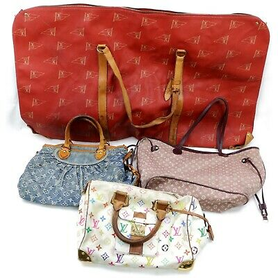 Louis Vuitton PVC Monogram Minilin Denim Multicolor Hand Bag 4pc set 514615