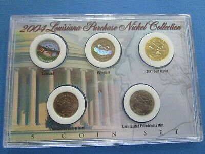 2004 LOUISIANA PURCHASE NICKEL Westward Journey 5-Coin COMPLETE SET in a DISPLAY