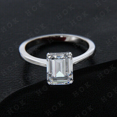 4 Ct Emerald Cut Diamond 14K White Gold Solitaire Engagement Wedding Ring