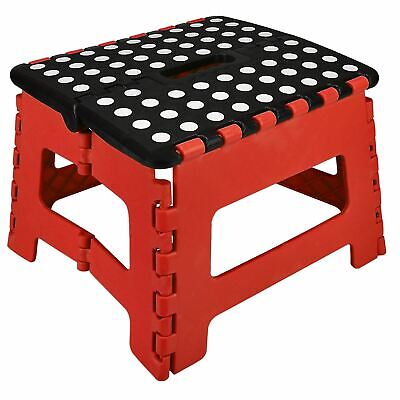 Large Fold Step Stool Plastic Home Kitchen Multi Purpose Foldable Storage Red UK