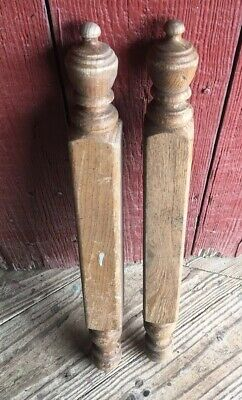 2 Solid Oak Turned Architectural Salvage Finial Newel  Bed Post Column Wood 24""