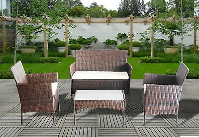 Rattan Sofa Table and Chairs 4 Piece Outdoor Patio Conservatory Furniture Set