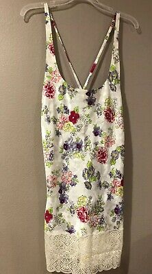 VTG Victorias Secret Flower Floral Nightie Satin Lace Night Gown , M Gold Label