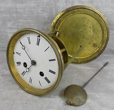 Japy Freres Bell Striking Clock Movement & Pendulum Dial Hands Bezel Rear Door