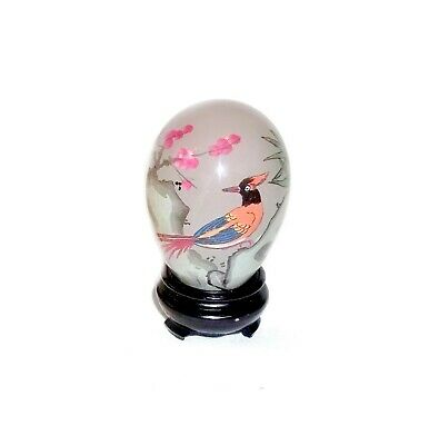 Vintage Chinese Inside-Hand Painted Glass Egg + Bird & Plants Design, Boxed