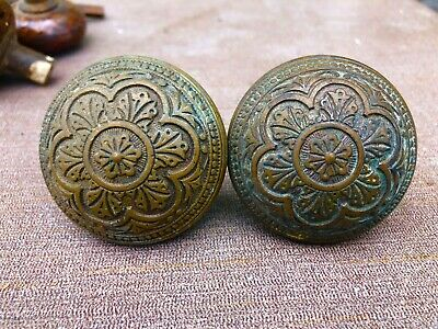 Match Pair Of Fancy Antique Victorian Eastlake Era Brass Door Knobs-Lot # 2