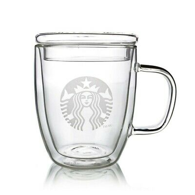 Starbucks Mugs Heat-proof Double Walled Coffee Cups with Glass Lid 350ml/450ml