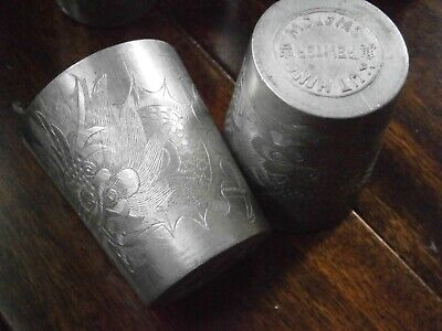 Antique Pewter Kut Hing Swatow Asian 5 Shot Cups Etched Dragons Sake Cups Goblet