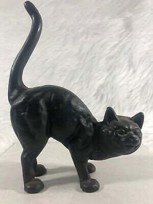 🔥 ANTIQUE VINTAGE CAST IRON BLACK CAT DOORSTOP AMERICANA DECOR 3.73 Lbs