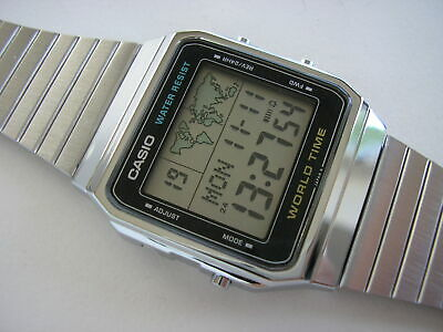 "New N.o.s. Casio Lcd Vintage ""World Time"" Watch A300U Module 643. Rare Old 1987"