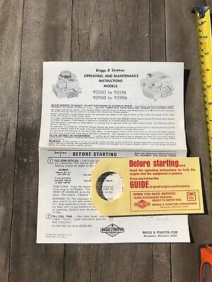 Briggs & Stratton Operating & Instructions Manual Model 92500 To  92598 , 92900