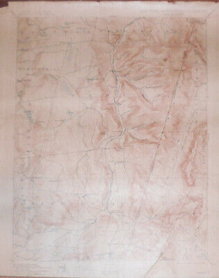 Rare-1908 -Berlin- NY-Massachusetts-Vermont Vintage Geological Topographical Map