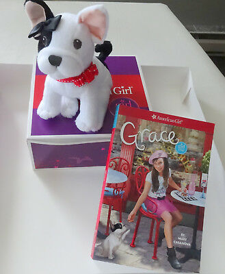 "American Girl GRACE FRENCH BULL DOG NIB & ""MEET GRACE"" paperback - RETIRED"