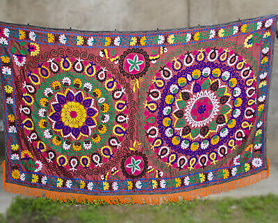 Large Suzani wall hanging Vintage Uzbek silk suzani bedding suzani fabric