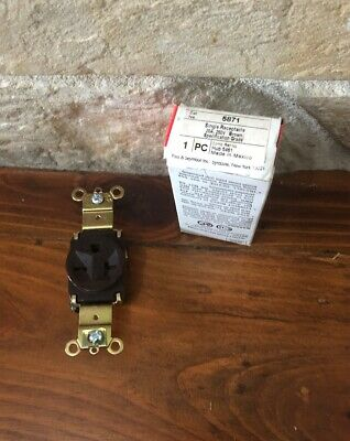Pass & Seymour Legrand 5871 Single Brown Receptacle 20A 250V New